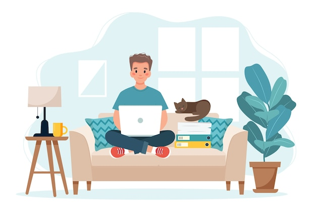 Home office concept, man working from home sitting on a sofa, remote work concept