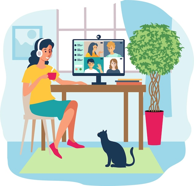 Home office concept online communication woman working from home student or freelancer cute
