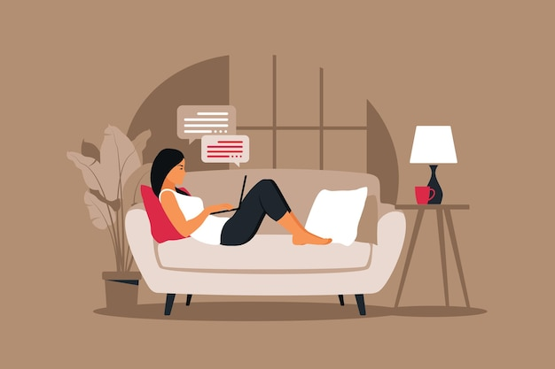 Home office concept, woman working from home lying down on a sofa. illustration in flat style