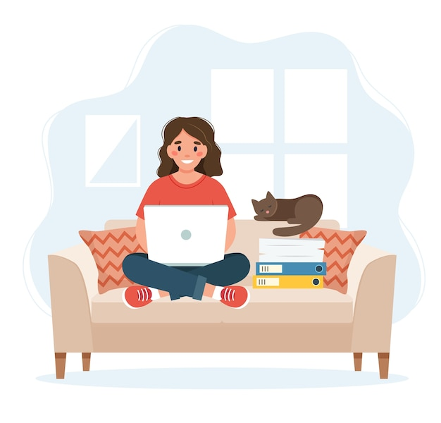 Home office concept, woman working from home sitting on a sofa, remote work concept