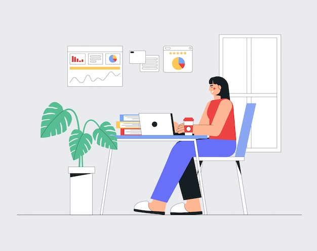 Home office concept, woman working, sitting with laptop from home.