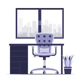 Home or office desk with chair flat style color modern vector illustration