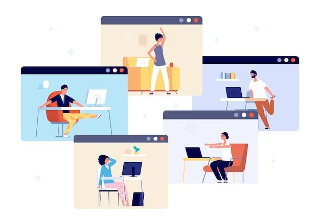 ホームオフィスの練習。仕事の休憩はリラックスし、ビジネスマンはオンラインで働き、ヨガをします。ウェルビーイングトレーニング、心の明確で落ち着いたベクトル。オフィスでのリラックス運動、ウェルネスリラクゼーションイラスト