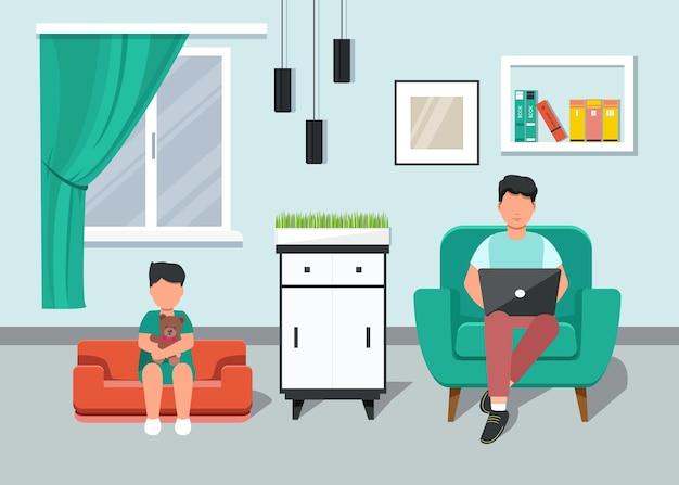 홈 오피스. 소파, 학생 또는 프리랜서에 앉아 집에서 일하는 아들과 아버지.