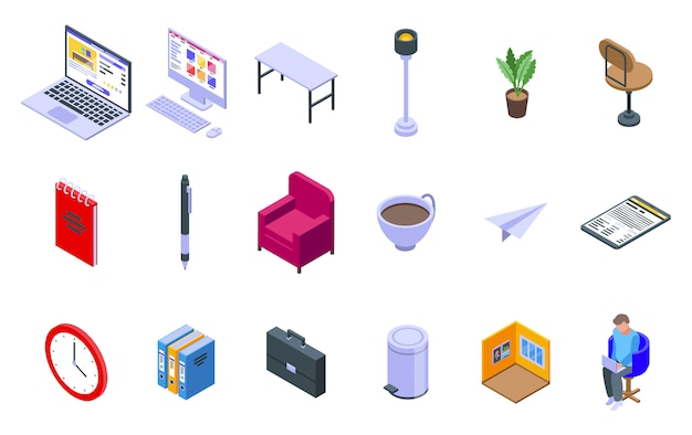 Home office icons set, isometric style