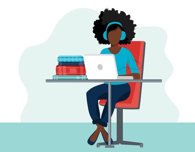 Иллюстрация домашнего офиса. женщина, работающая на дому, студент или фрилансер