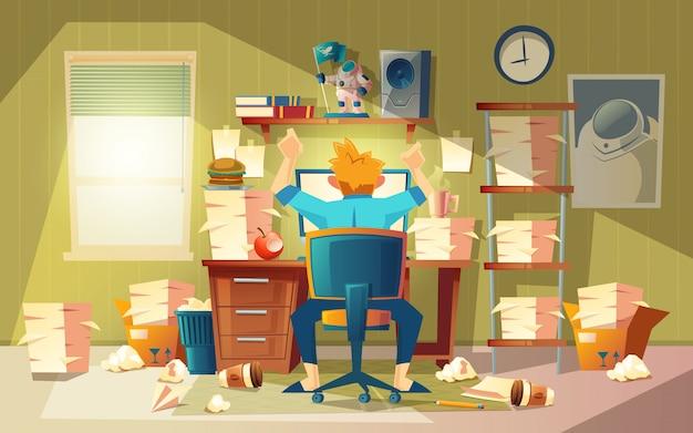 Домашний офис в хаосе с фрилансером - концепция крайнего срока, приближающаяся время окончания.