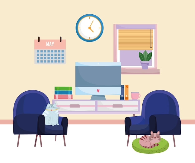 Home office interior computer furniture books calendar clock chairs and cats resting on cushion  illustration
