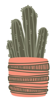 Home or office interior design decoration, isolated icon of cactus with thorns. potted plant in pot with ornaments and decorative lines. minimalistic design and simple decor. vector in flat style