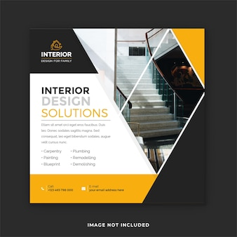 Home and office interior design instagram post templates