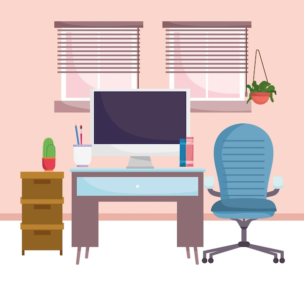 Home office interior furniture computer chair cabinet plants and windows  illustration