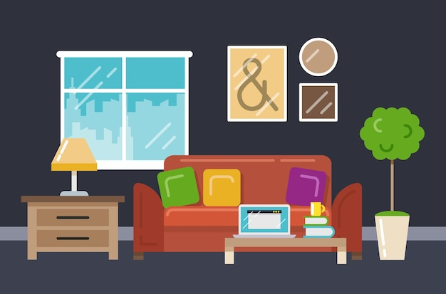 Интерьер домашнего офиса в плоском стиле. компьютер и рабочее место с диваном чашки книги. векторная иллюстрация