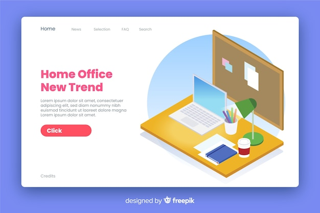 Home office landing page isometric style