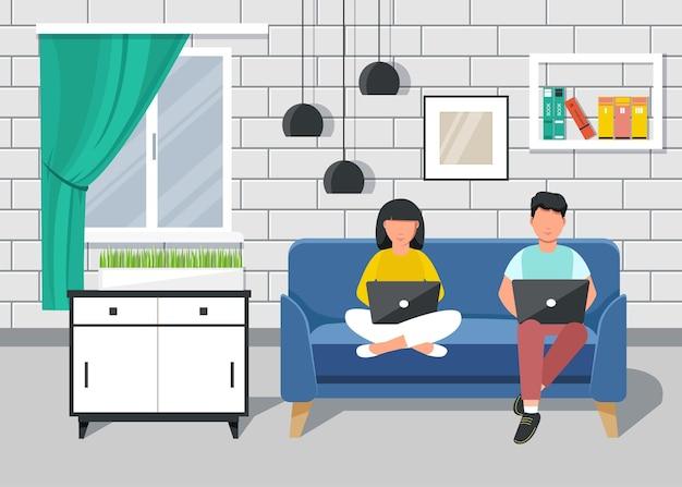 ホームオフィス。自宅でソファに座って仕事をしている人、学生、またはフリーランサー。