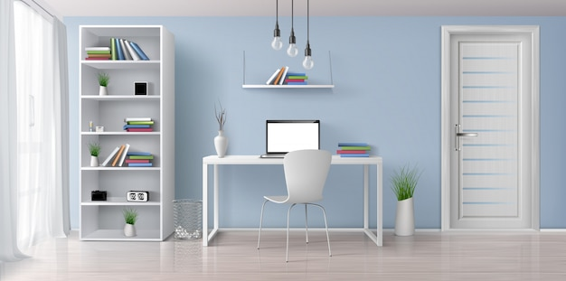 Home office sunny room with simple, white furniture 3d realistic vector interior. laptop with blank screen on work desk, bookshelf on blue wall, rack with clock and flowerpots illustration