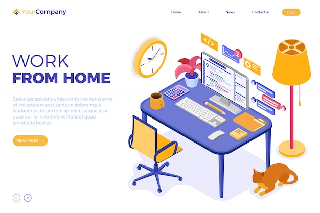Home office work from home. landing page template
