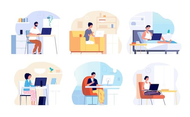 홈 오피스. 집에서 일하고, 일하는 여자 남자. 격리 기간 또는 격리, 컴퓨터 내부 벡터 세트를 가진 사람들. 집, 통신 및 프리랜서 일러스트레이션에서 격리 작업장