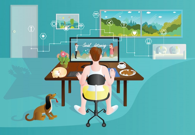 Home office working at home by graphic designer modern flat.