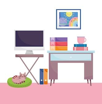 Домашний офис, рабочее место, компьютер, экран, таблица, связыватель, книги, чашка кофе и кошка.