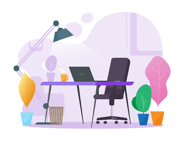 ホームオフィス職場インテリアテーブルデスク空またはラップトップコンピューターと誰もいない空の正面図漫画イラスト紫の色の背景に現代のデスクトップの作業場所の部屋