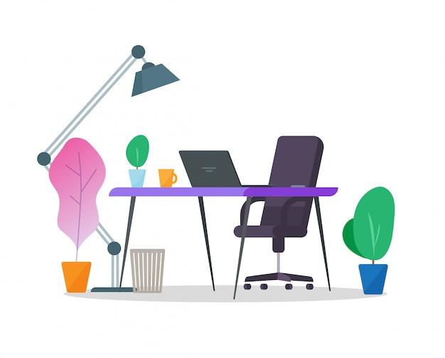 空のテーブルデスクとホームオフィス職場インテリアまたはラップトップコンピューターとデスクトップの作業場所部屋。