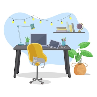 Домашний офис, интерьер рабочего пространства или внештатное рабочее место. иллюстрации.