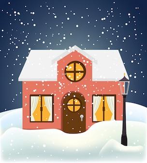 Дом на снежной сцене