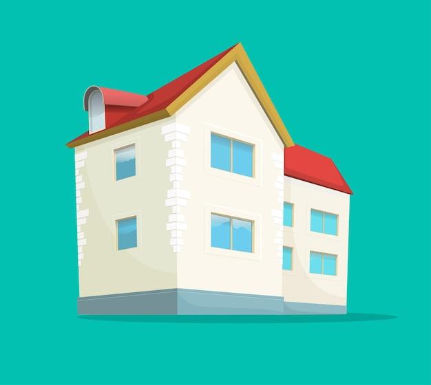 집 또는 집 아이콘 플랫 만화 만화 고립 된 그림
