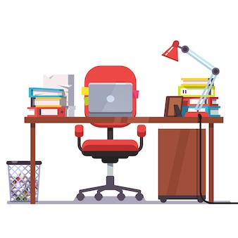 Home or office desk with laptop computer