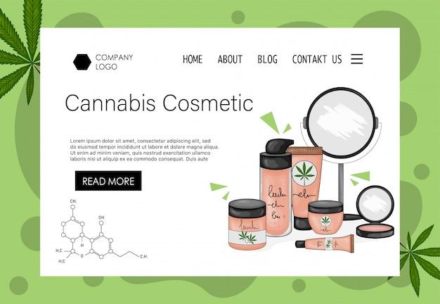 装飾的な化粧品のセットを持つ美容会社のホームページテンプレート。漫画のスタイル。図。