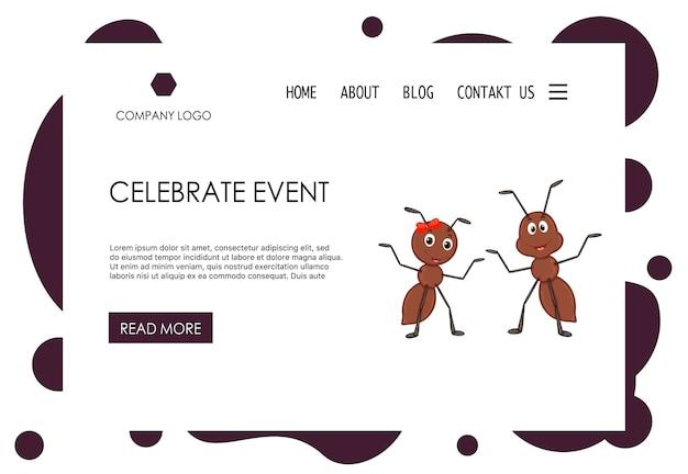 かわいいアリのホームページテンプレート。漫画のスタイル。