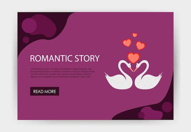 かわいい白鳥のホームページバレンタインデーテンプレート。漫画のスタイル。ベクトルイラスト。