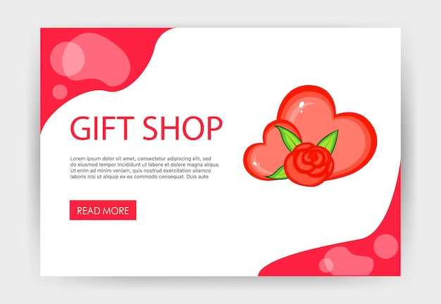 Home page valentine's day template with hearts. cartoon style. vector illustration.