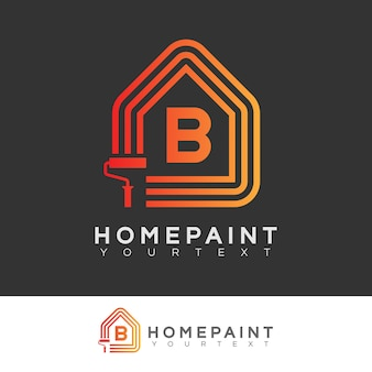 Home paint initial letter b logo design
