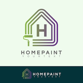 Home paint initial letter h logo design