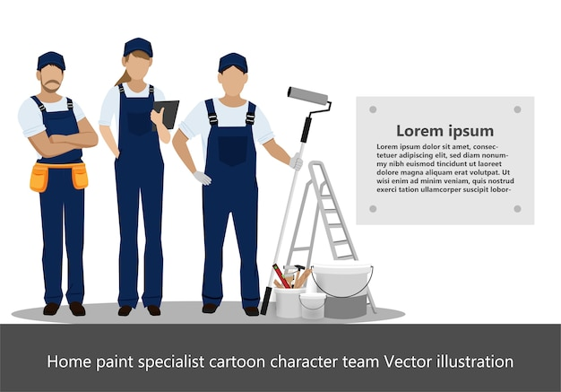 Home paint specialist cartoon character team