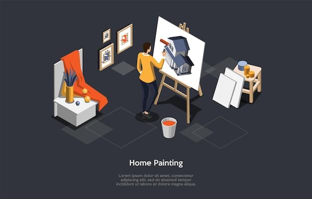 텍스트와 어두운 배경에 홈 페인팅 개념 벡터 일러스트 레이 션. 만화 3d 스타일의 아이소메트릭 구성입니다. 집 수리, 색상 따기의 과정. 새 건물의 염료를 선택하는 디자이너.