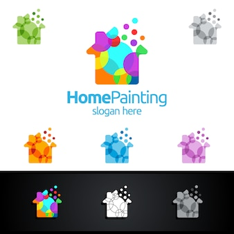 Home painting logo with bubble and house concept