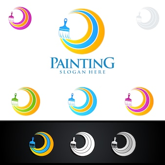 Home painting logo with paint brush and colorful circle concept