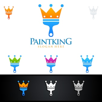 Home painting logo with paint brush and crown concept