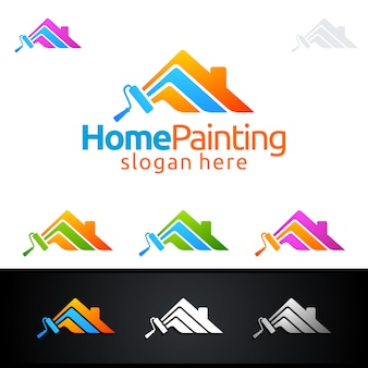 Home painting logo with paint brush and house concept