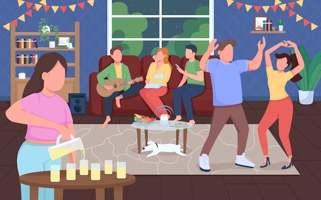ホームパーティーフラットカラーイラスト。夜のエンターテイメント。男と女が一緒に踊ります。屋内でイベントを祝います。背景に家のインテリアと幸せな友達2d漫画のキャラクター
