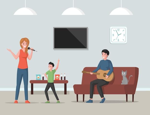 Домашняя вечеринка плоская иллюстрация семья проводит время вместе в помещении