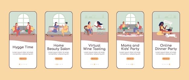 Плоский шаблон экрана мобильного приложения домашней вечеринки. время хюгге.