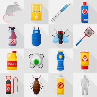 Home pest control expert exterminator service set.