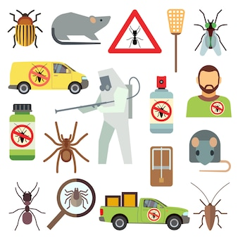 Home pest control service flat icons set