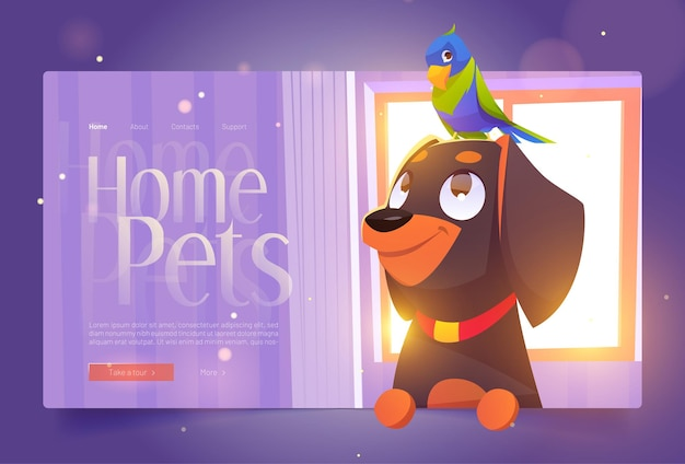 Home pets banner with cute dog and parrot