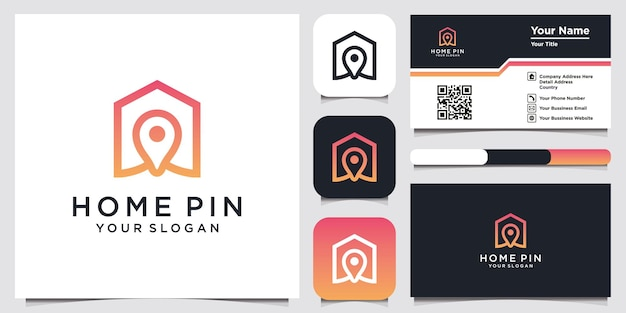 Home pin logo symbol icon template and business card design