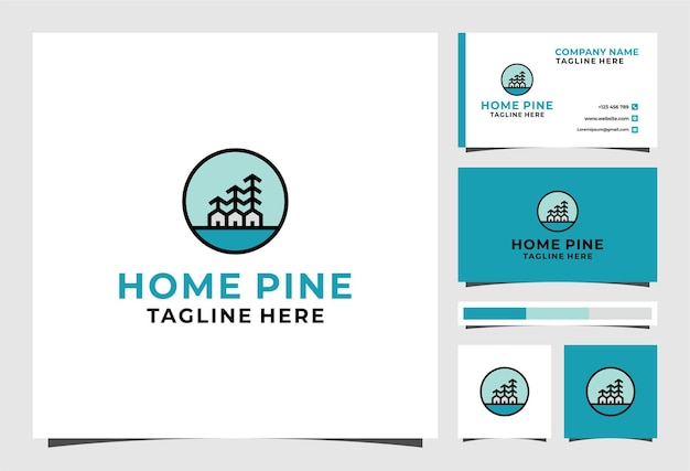 Home pine logo and business card