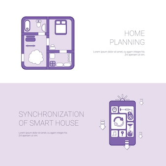 Home planning and synchronization of smart house concept template web banner